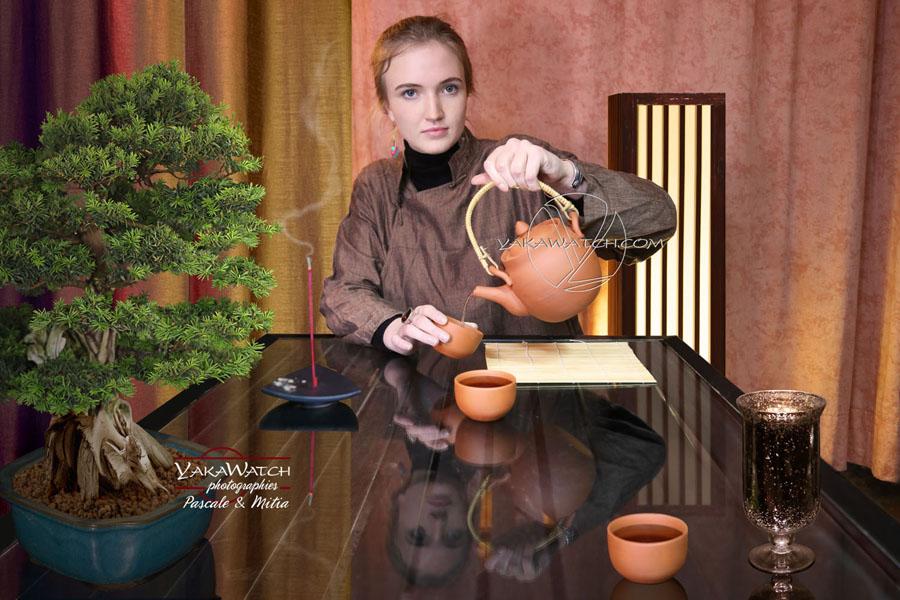 Portrait studio mise en scène cérémonie du thé